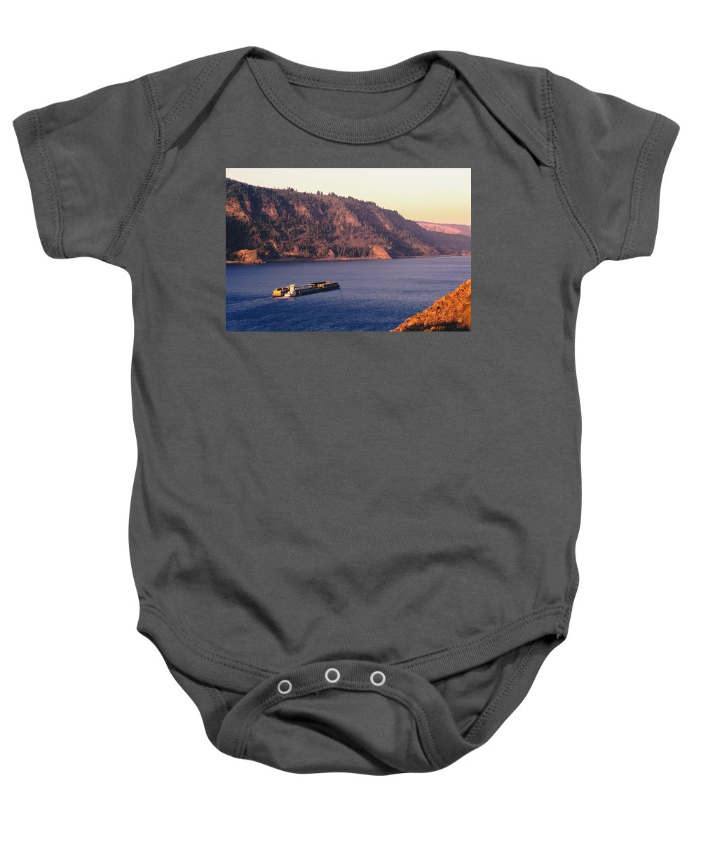 Tidewater Baby Onesie featuring the photograph Columbia River by Mike Penney