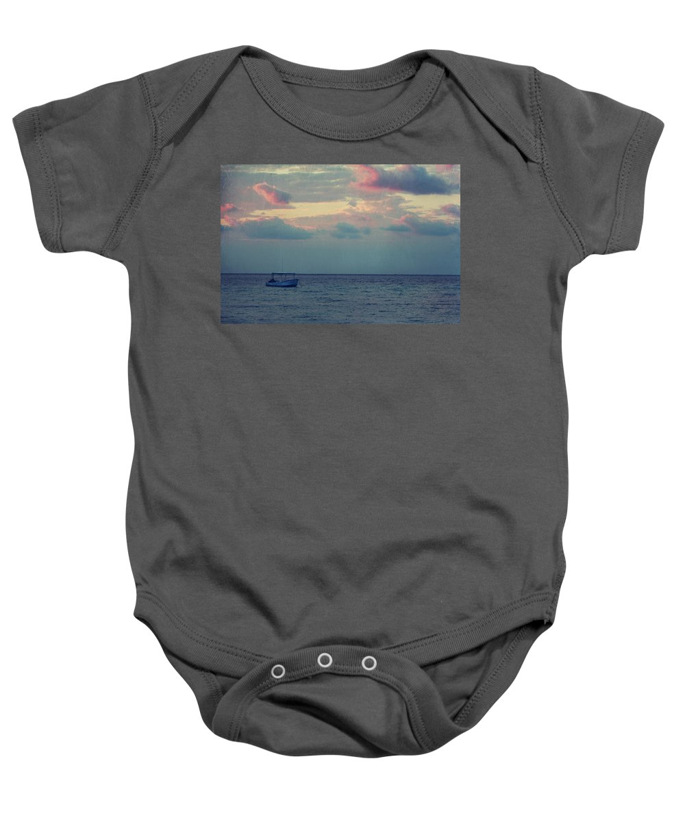Boat Baby Onesie featuring the photograph Come With Me My Love by Laurie Search