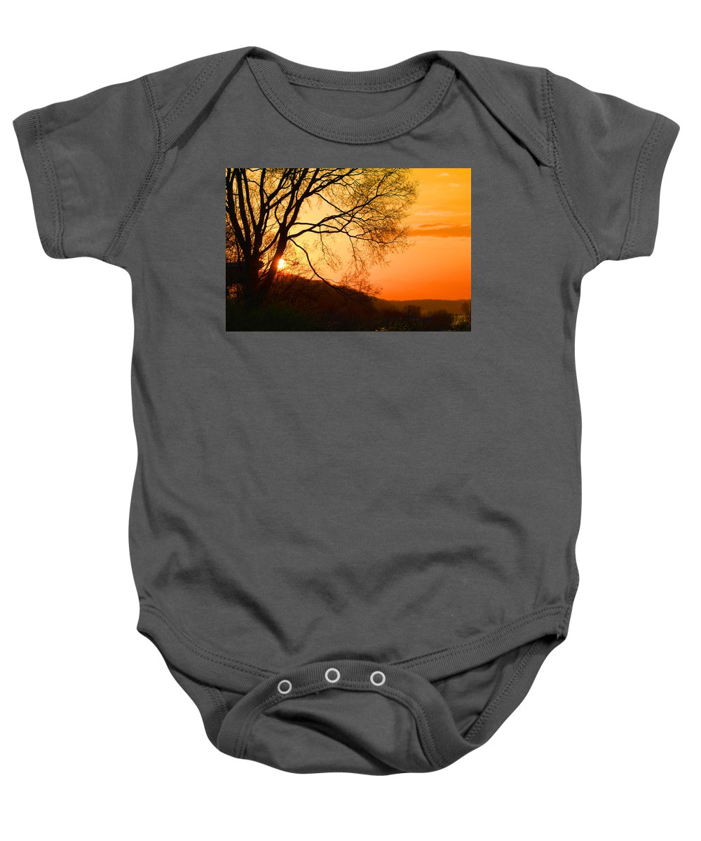 Sunrise Baby Onesie featuring the photograph Coming Up by Karen Wagner