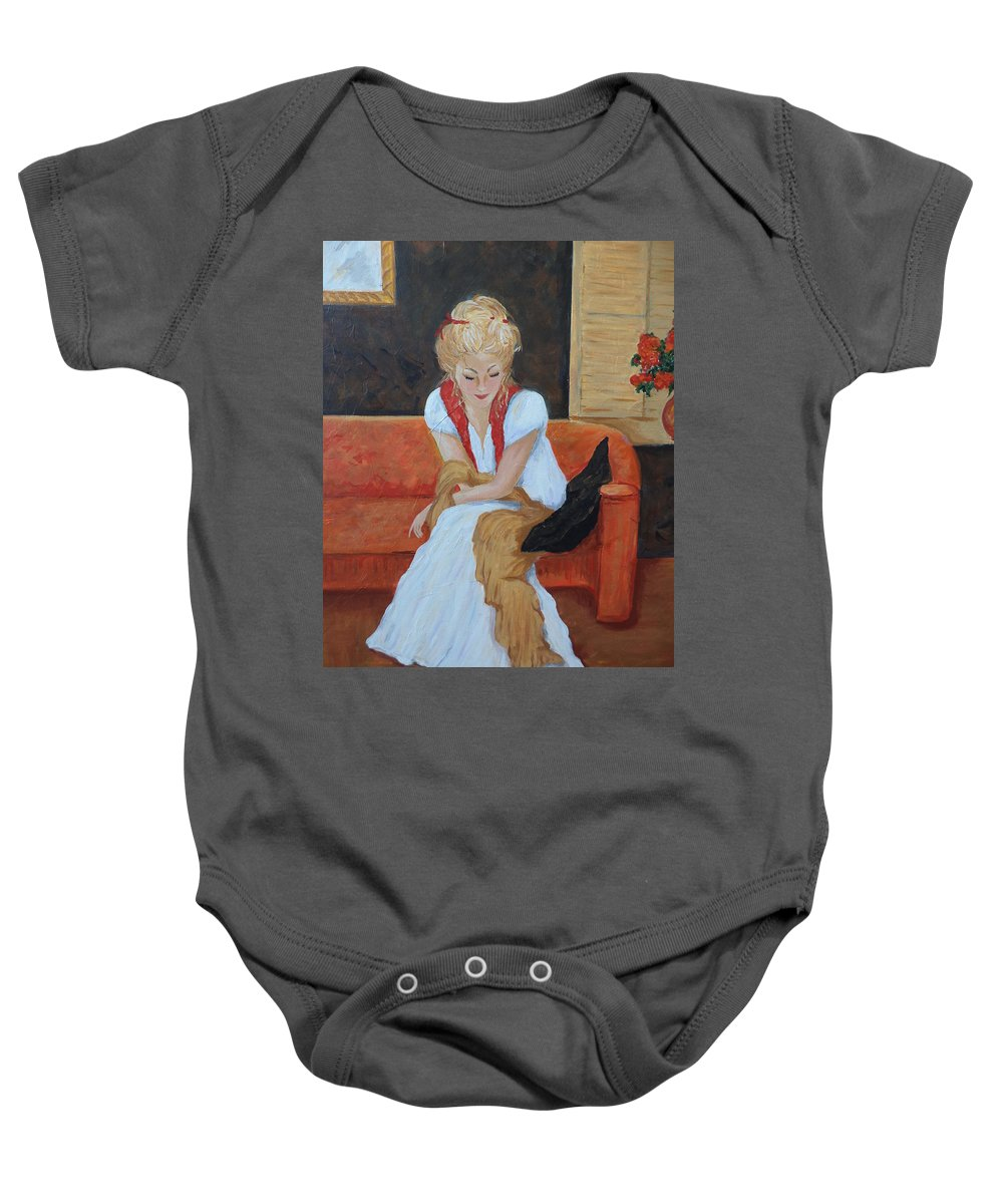 Woman Baby Onesie featuring the painting Contemplation by Rosie Sherman