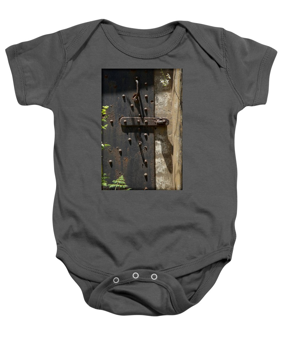 Steel Door Baby Onesie featuring the photograph Contents Unknown by Kelley King