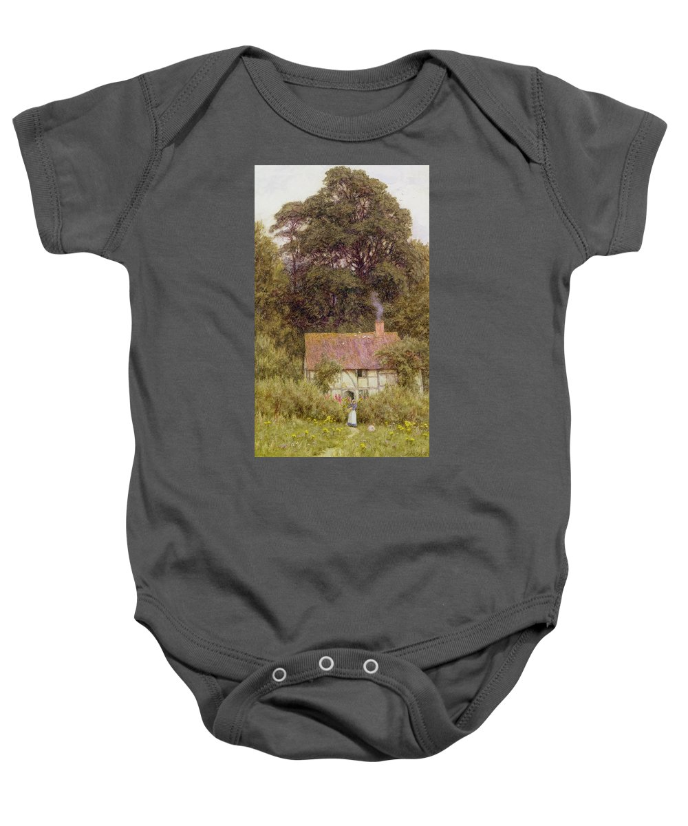 Cottage Near Brook Baby Onesie featuring the painting Cottage Near Brook by Helen Allingham
