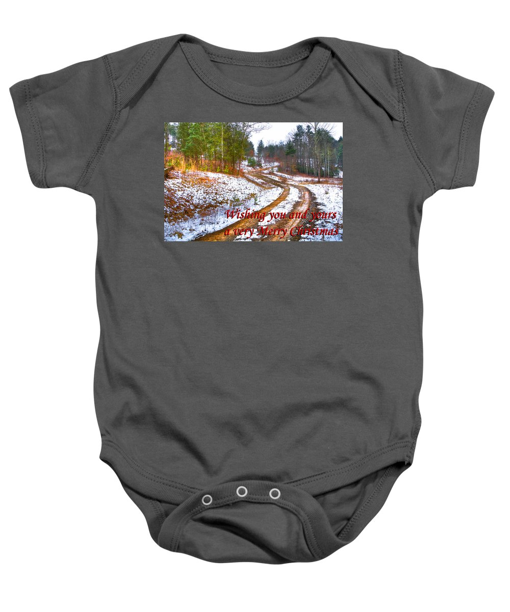 Apalachia Baby Onesie featuring the photograph Country Lane Holiday Card by Debra and Dave Vanderlaan