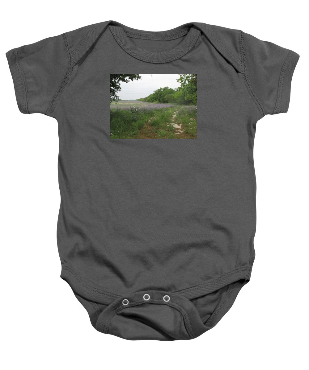 Wildflowers Baby Onesie featuring the photograph Country Lane by Sandra Vasko