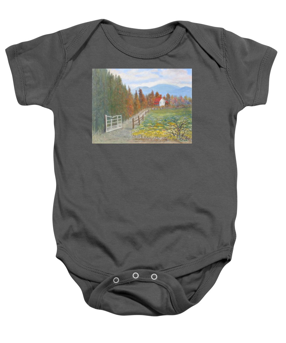 Baby Onesie featuring the painting Country Road by Ben Kiger