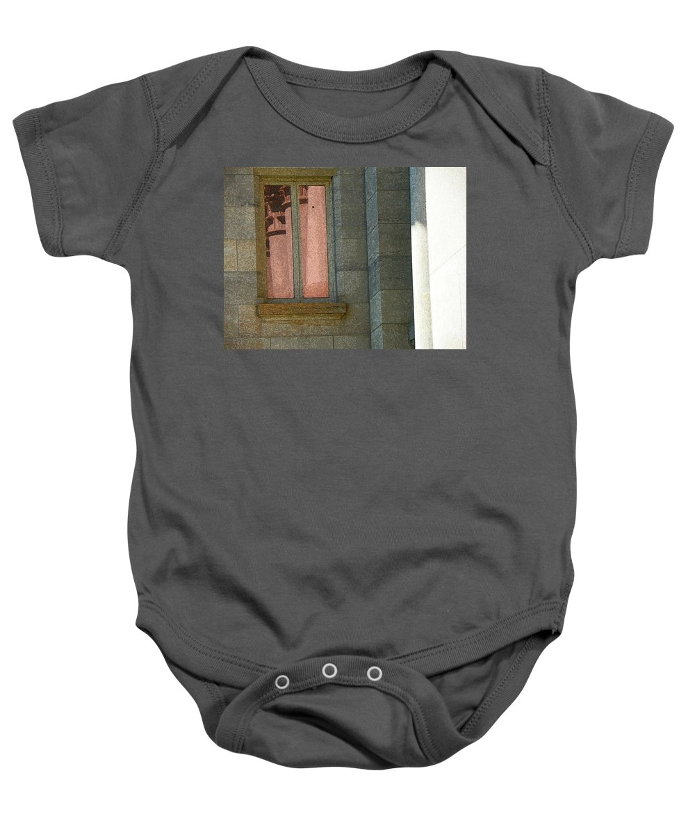 Abstract Baby Onesie featuring the photograph Courthouse Window 3 by Lenore Senior