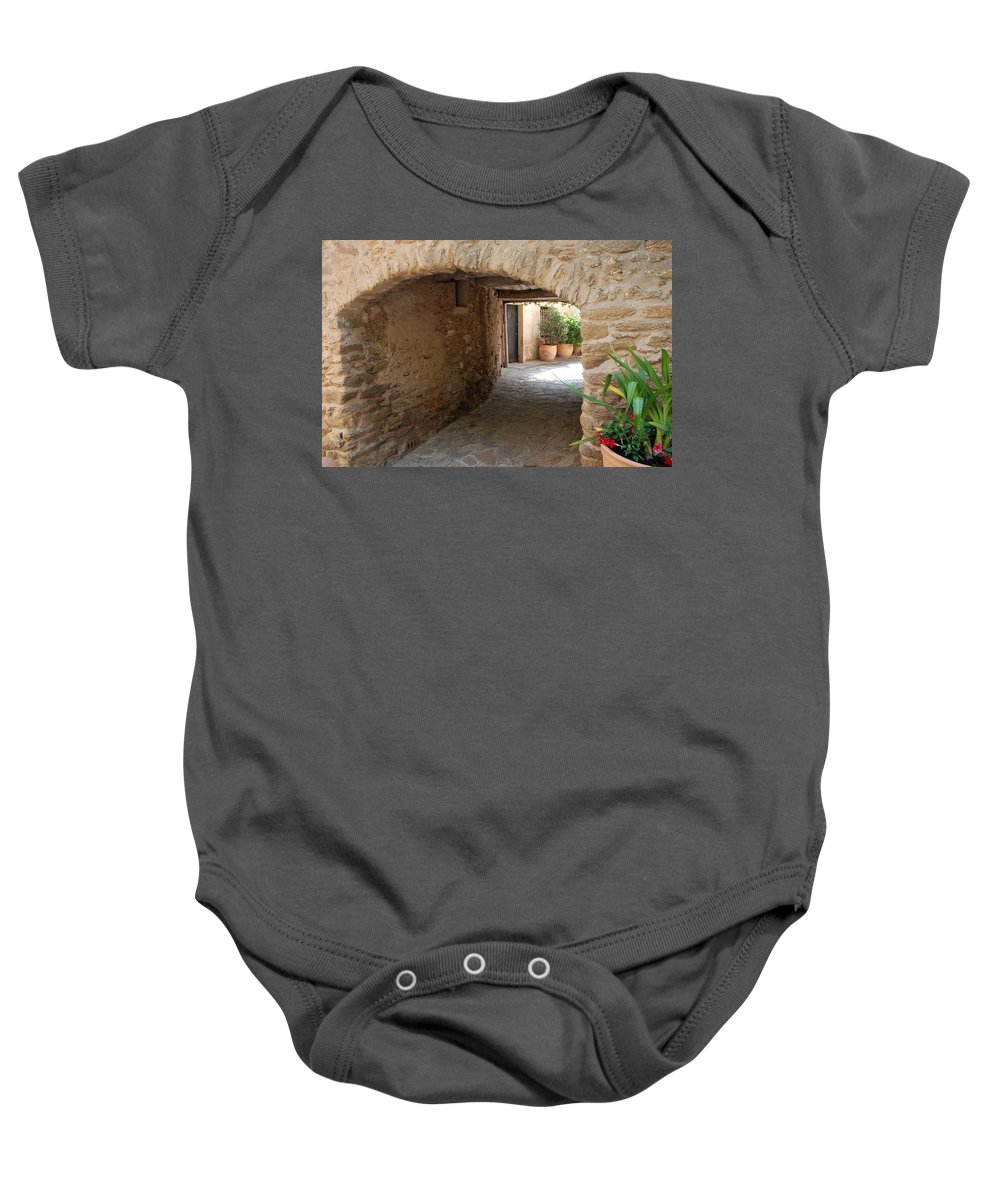 Courtyard Baby Onesie featuring the photograph Courtyard In The Village by Dany Lison