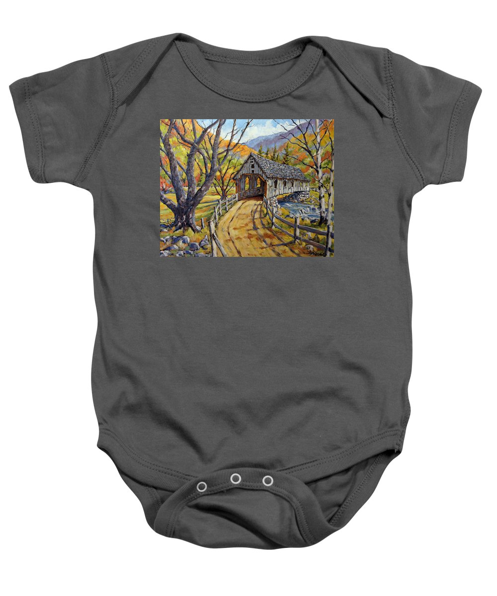 Art Baby Onesie featuring the painting Covered Bridge 04 by Richard T Pranke