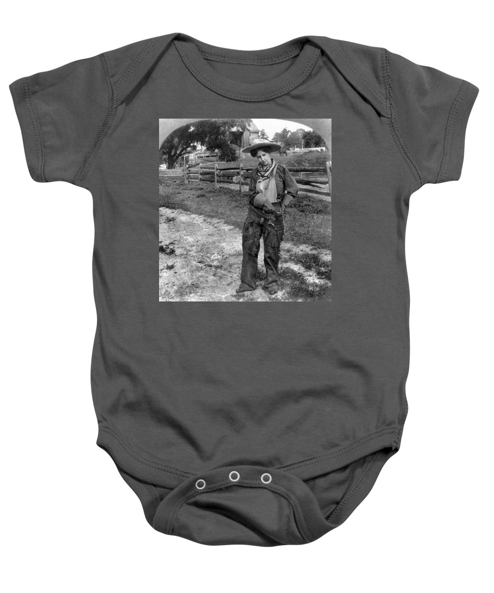 1906 Baby Onesie featuring the photograph Cowgirl, C1906 by Granger