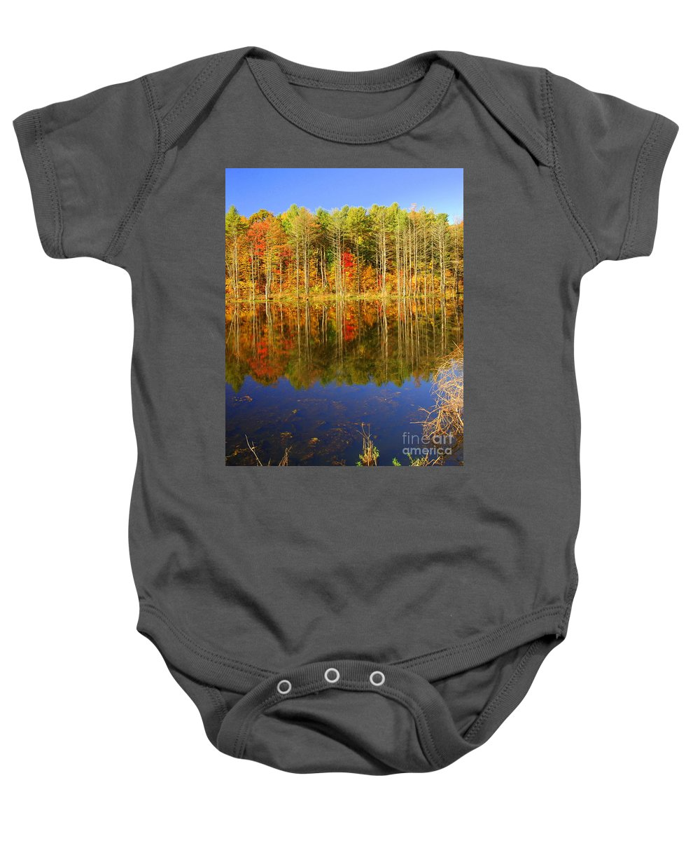 Fall Baby Onesie featuring the photograph Coxsackie Reflection by Mark Gilman