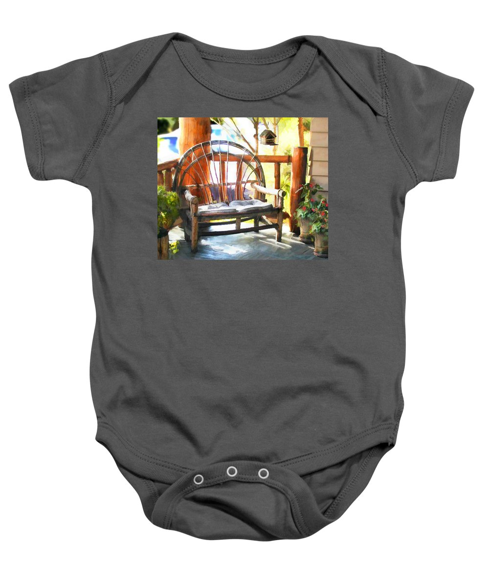 Baby Onesie featuring the painting Cozy Corner by Elaine Plesser