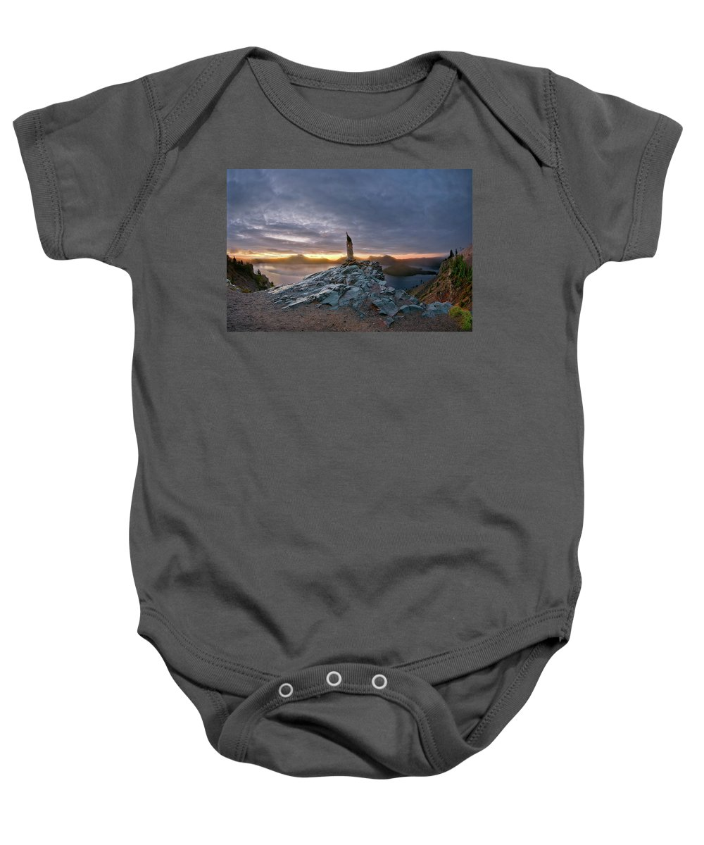 Dawn Baby Onesie featuring the photograph Crater Lake Autumn Dawn by Greg Nyquist