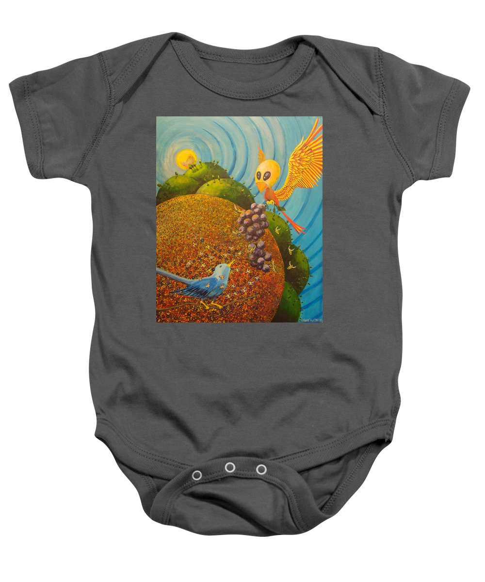 Creation Baby Onesie featuring the painting Creation by Mindy Huntress
