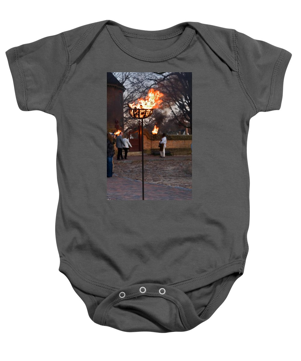Cressets Burning Baby Onesie featuring the photograph Cressets Light The Way by Sally Weigand