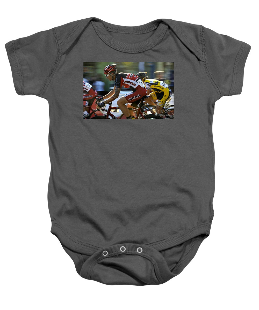 Criterium Baby Onesie featuring the photograph Criterium Bicycle Race1 by Bob Christopher