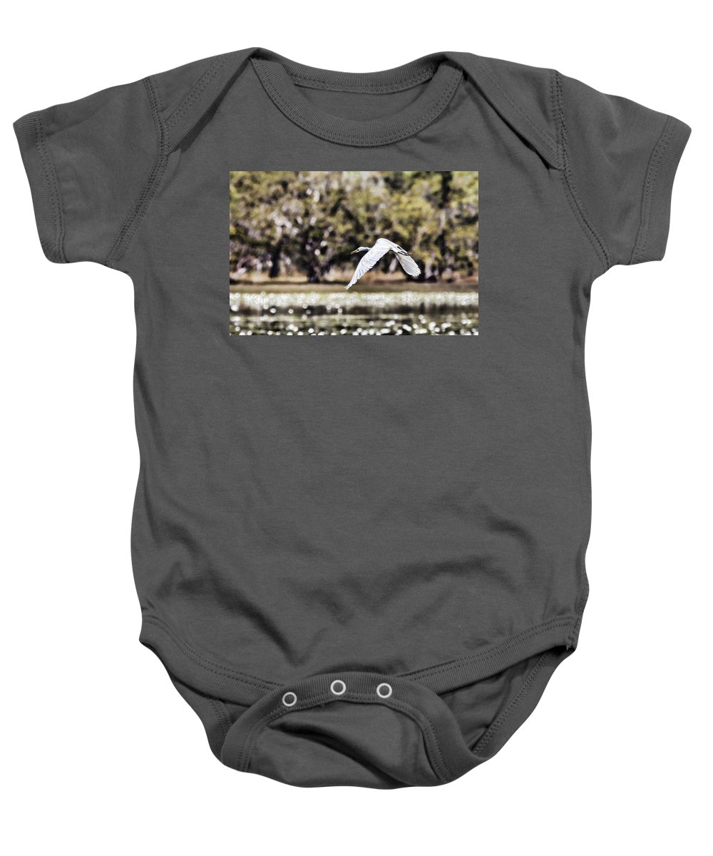 Egret Baby Onesie featuring the photograph Crossing The Billabong by Douglas Barnard