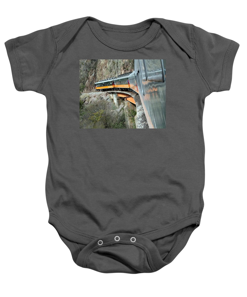 Train Baby Onesie featuring the photograph Crossing The Bridge by Laurel Talabere