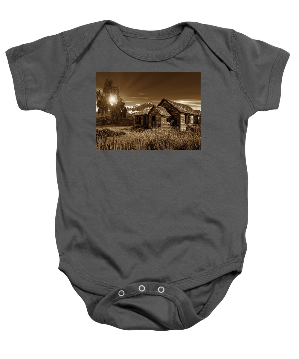 Sepia Baby Onesie featuring the photograph Days Of Yore by Lourry Legarde