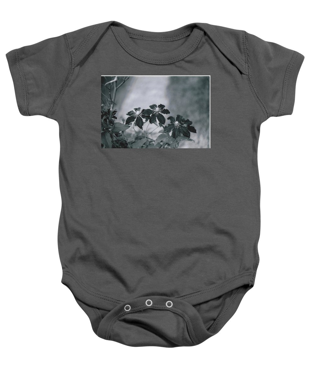 Black And White Photography Baby Onesie featuring the photograph Deep Purple by Catherine Conroy