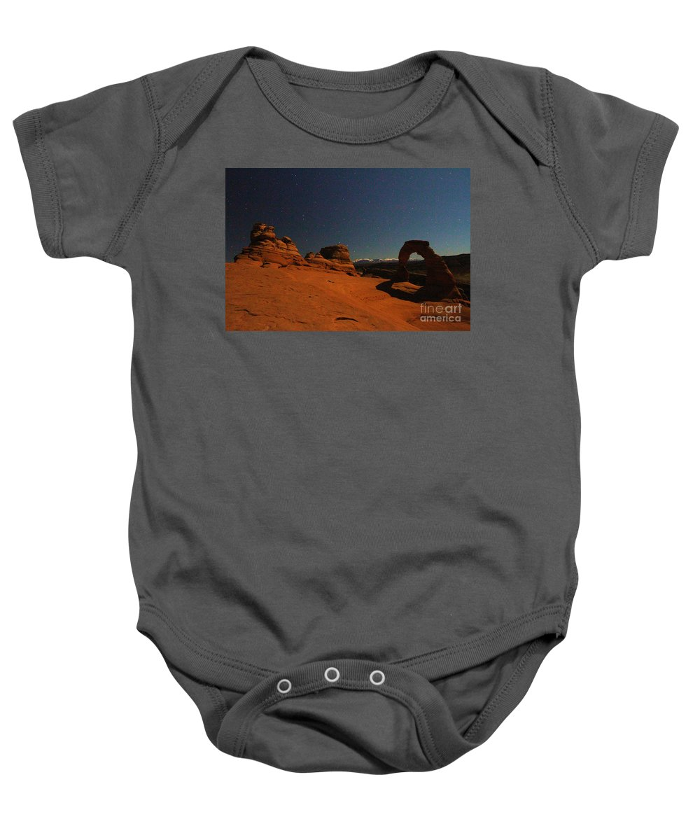 Arches National Park Baby Onesie featuring the photograph Delicate Moonlight by Adam Jewell