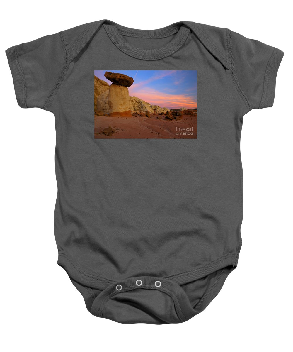 Hoodoo Baby Onesie featuring the photograph Desert Balance by Mike Dawson