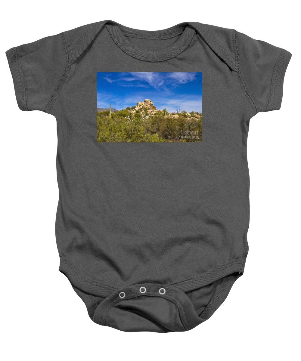Desert Baby Onesie featuring the photograph Desert Boulders by Scott Pellegrin