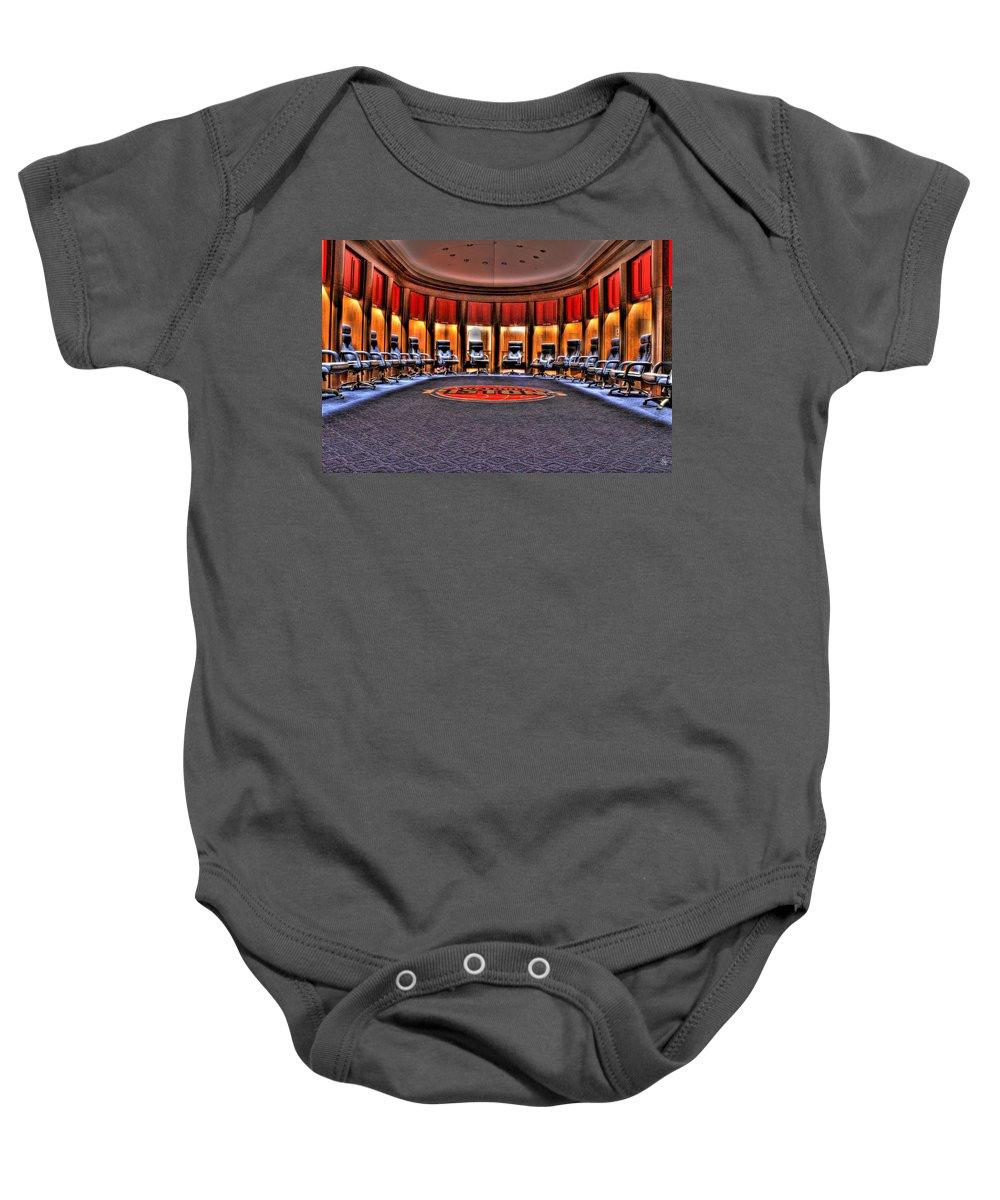 Baby Onesie featuring the photograph Detroit Pistons Locker Room Auburn Hills Mi by Nicholas Grunas