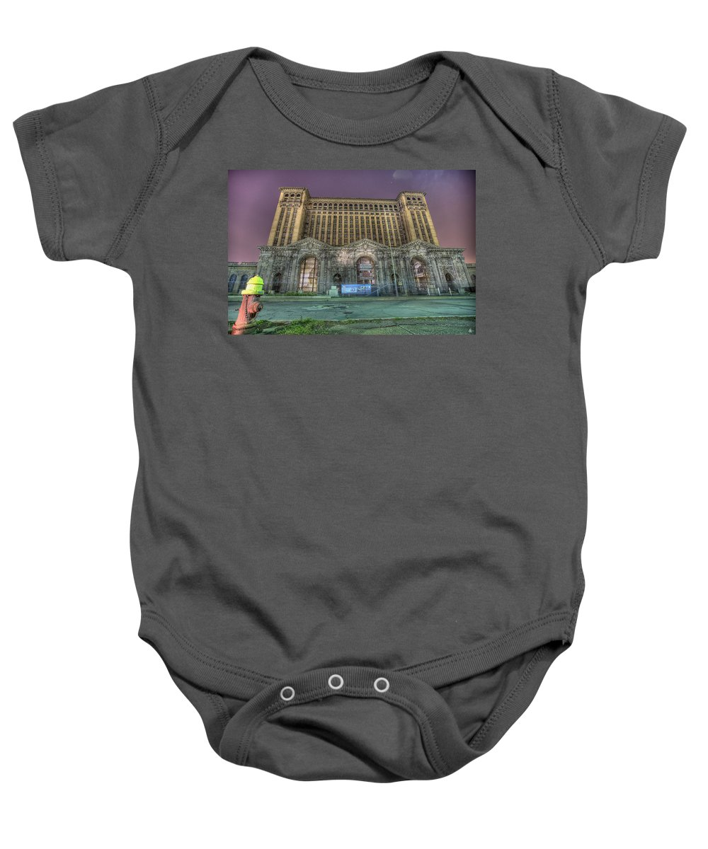 Abandoned Baby Onesie featuring the photograph Detroit's Michigan Central Station - Michigan Central Depot by Nicholas Grunas