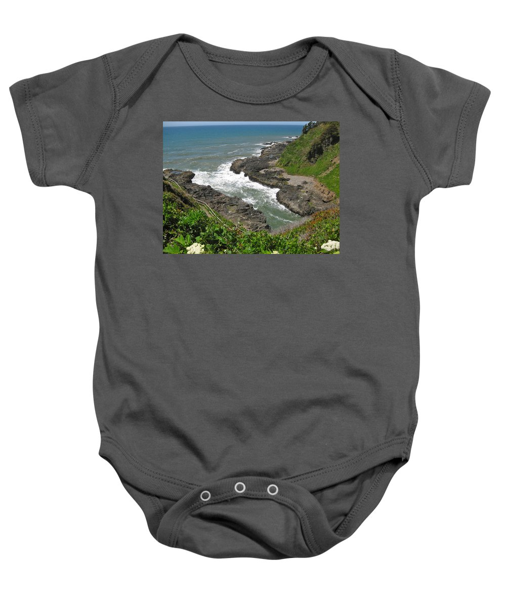 Devil's Churn Baby Onesie featuring the photograph Devil's Churn by Linda Hutchins