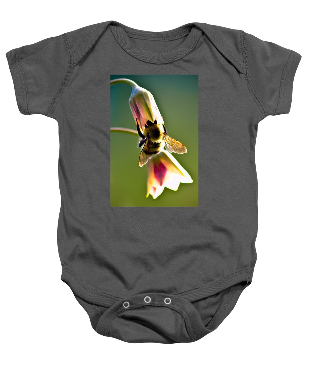Flower Baby Onesie featuring the photograph Digging For Liquid Gold by Sarah Wiggins