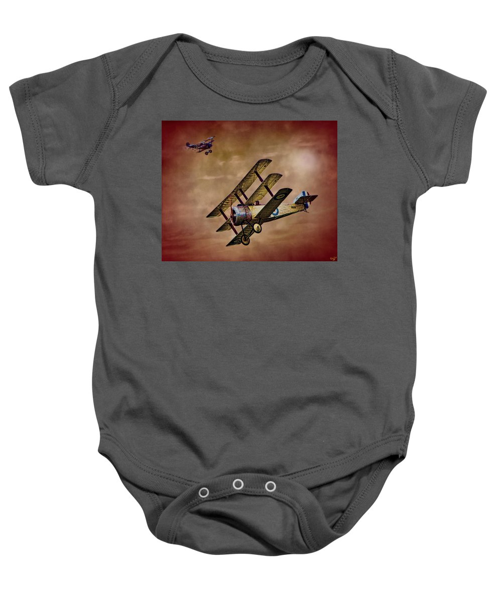 Triplane Baby Onesie featuring the photograph Dogfight 1918 by Chris Lord