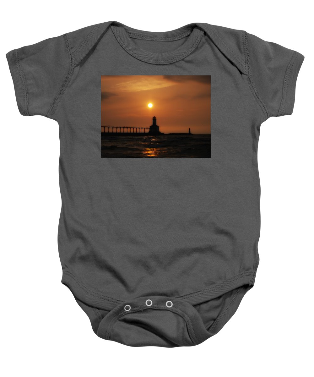 Sunset Baby Onesie featuring the photograph Dreamy Sunset At The Lighthouse by Scott Wood