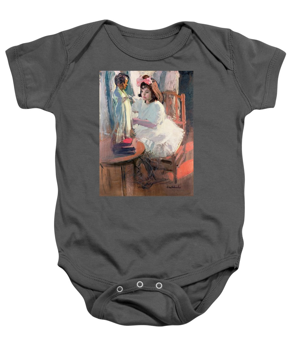 Girl; Hair; Bow Baby Onesie featuring the painting Dressing Her Doll by Claudio Castelucho