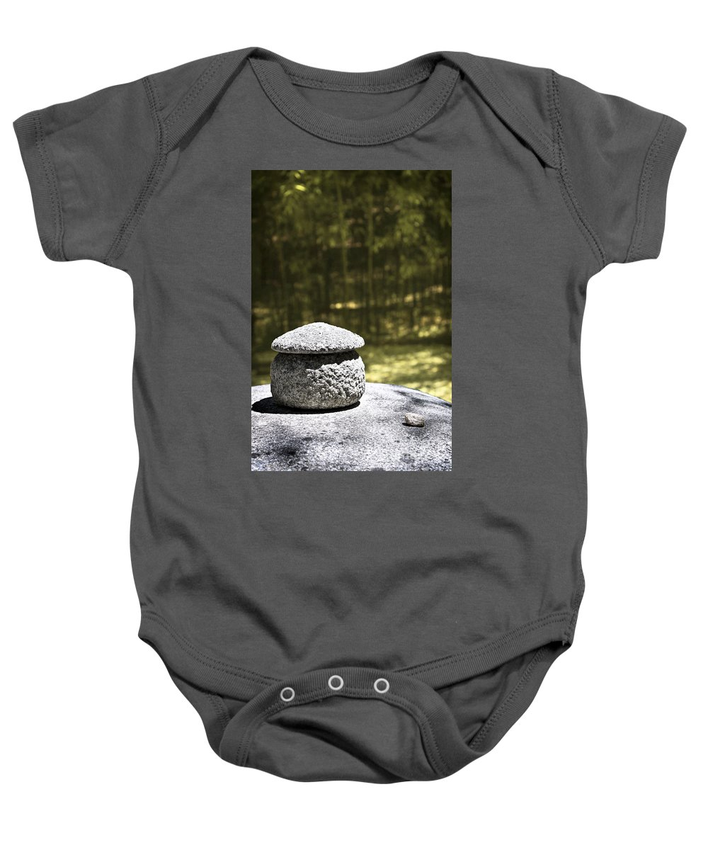 Spiritual Baby Onesie featuring the photograph Duality by Ellen Cotton