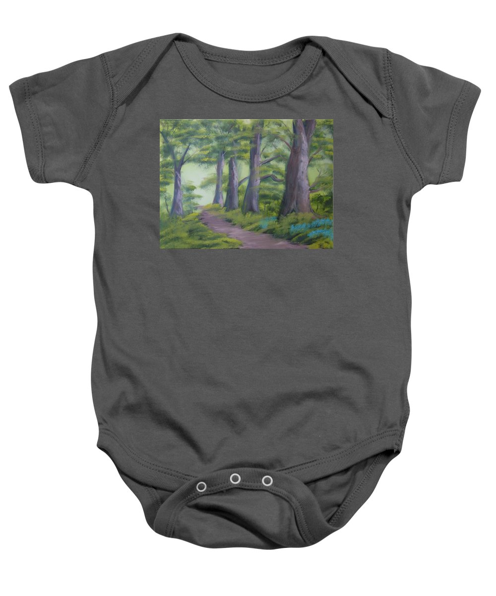 Painting Baby Onesie featuring the painting Duff House Path by Charles and Melisa Morrison