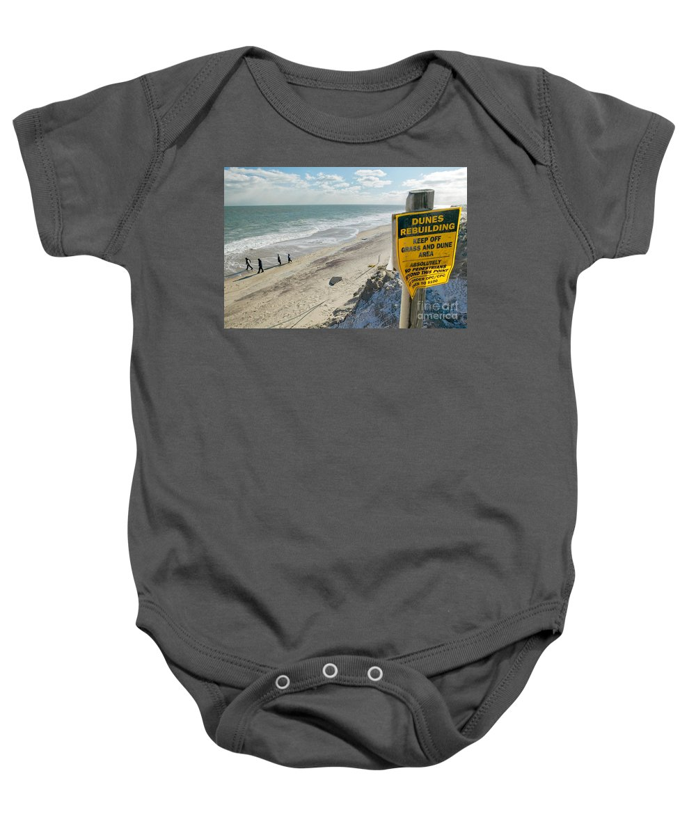 Winter Baby Onesie featuring the photograph Dunes Rebuilding Keep Off Grass And Dune Area Cape Cod by Matt Suess