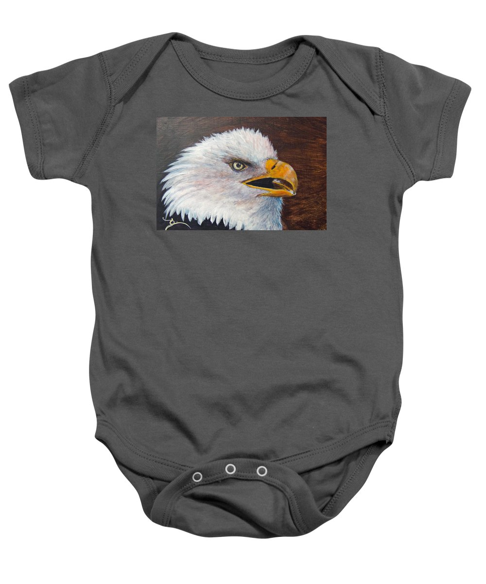 Eagle Baby Onesie featuring the painting Eagle Study by Dee Carpenter