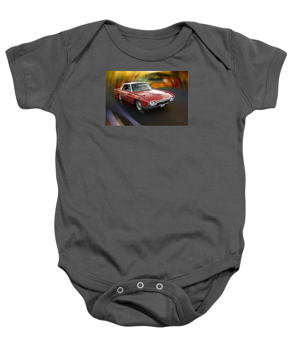 Special Effect Baby Onesie featuring the photograph Early 60s Red Thunderbird by Mick Anderson