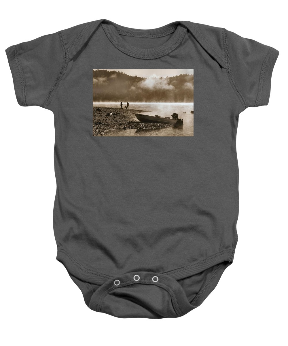 Mountain Lake Baby Onesie featuring the photograph Early Morning Fishing On Scotts Flat Lake In Sepia by Sally Bauer