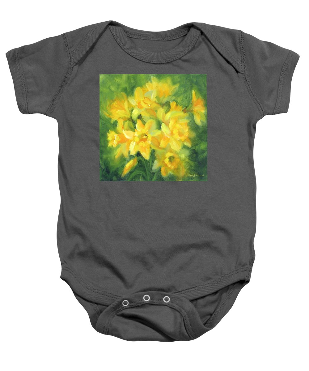 Daffodils Baby Onesie featuring the painting Easter Daffodils by Karin Leonard