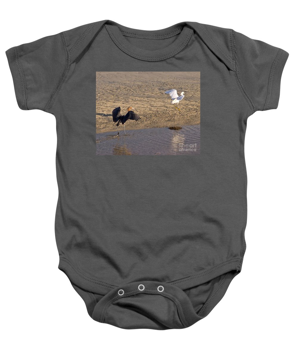 Ruffled Baby Onesie featuring the photograph Egret Territory by Stephen Whalen