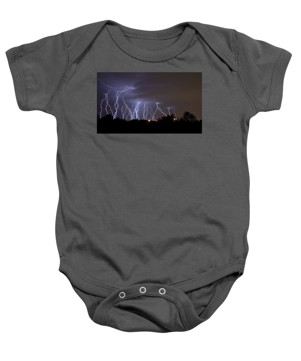 Atmosphere Baby Onesie featuring the photograph Electric Avenue by Ricky Barnard