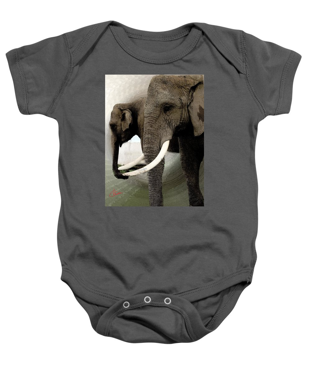 Colette Baby Onesie featuring the painting Elephant Meet by Colette V Hera Guggenheim