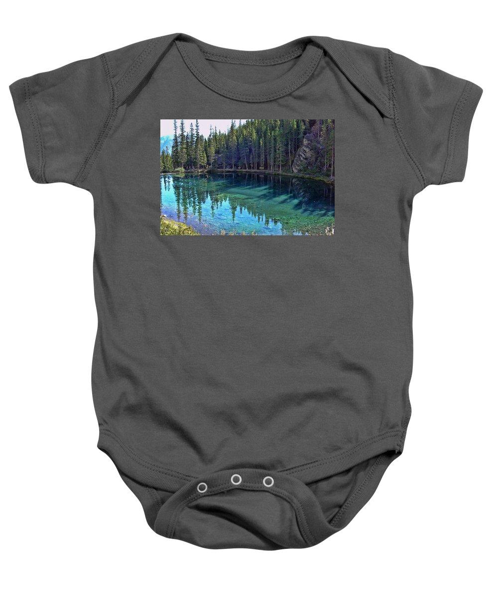 Alberta Baby Onesie featuring the photograph Emerald Mountain Pond by Jo-Anne Gazo-McKim