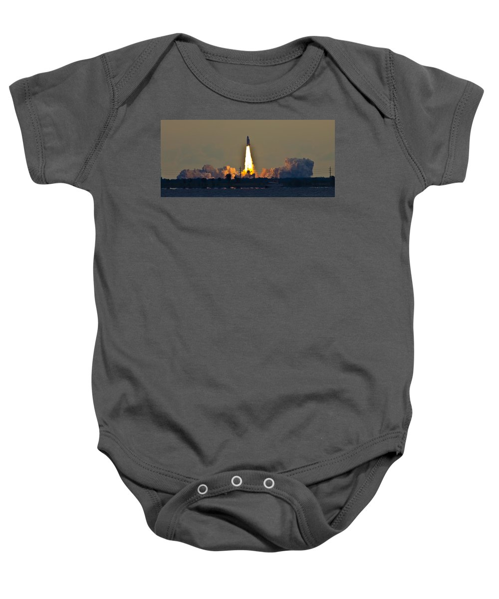 Endeavor Baby Onesie featuring the photograph Endeavor Blast Off by Dorothy Cunningham