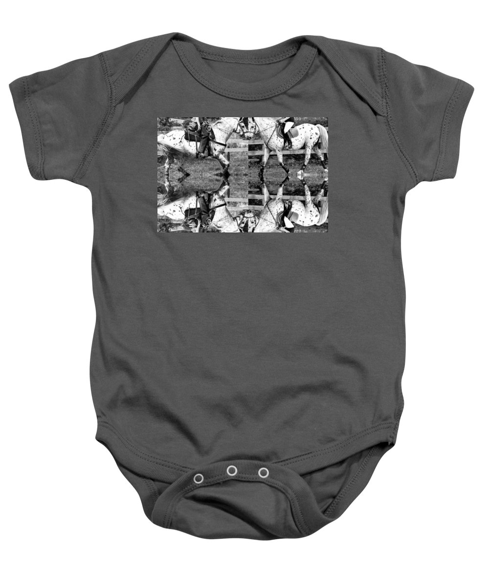 Equine Baby Onesie featuring the digital art English And Western Collide by Betsy Knapp