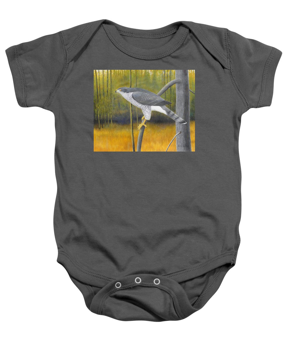 European Goshawk Baby Onesie featuring the painting European Goshawk by Alan Suliber