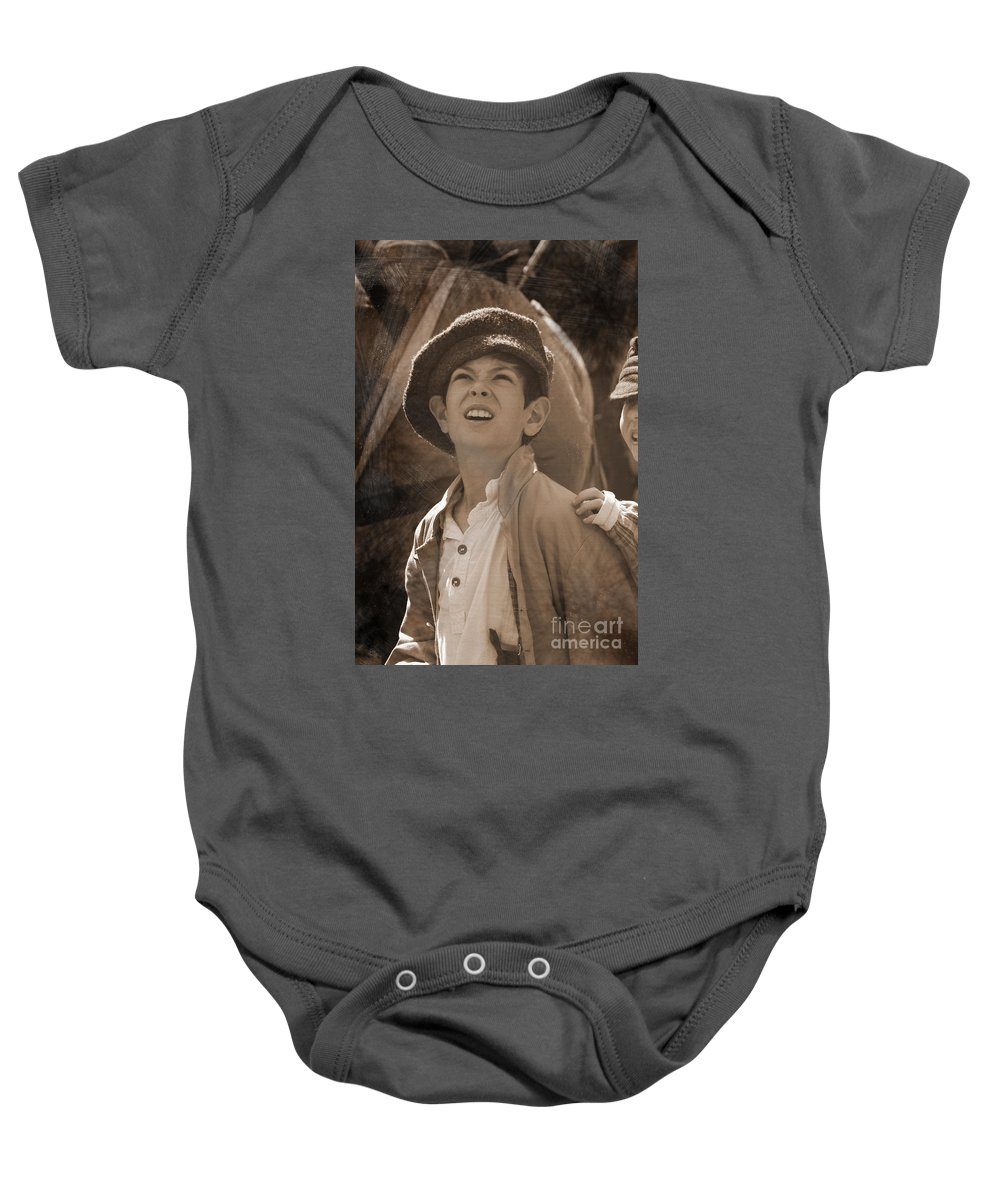Civil War Baby Onesie featuring the mixed media Faces Of War by Kim Henderson