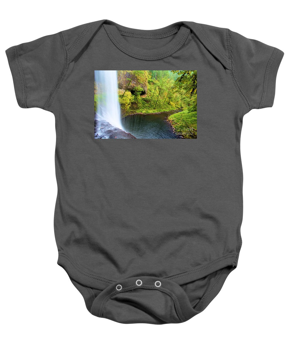 Silver Falls Baby Onesie featuring the photograph Falling Off The Cliff by Adam Jewell