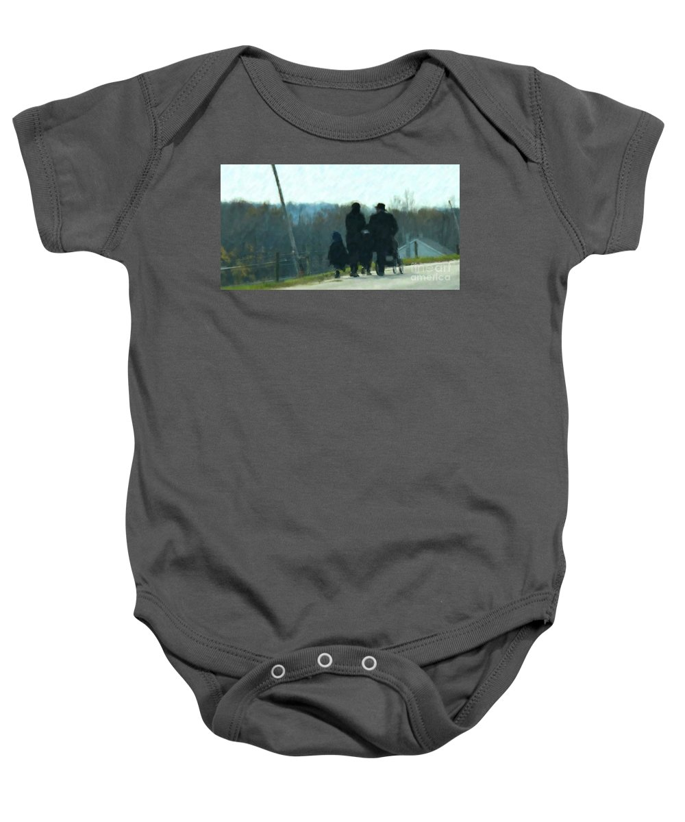 Amish Baby Onesie featuring the photograph Family Time by Debbi Granruth
